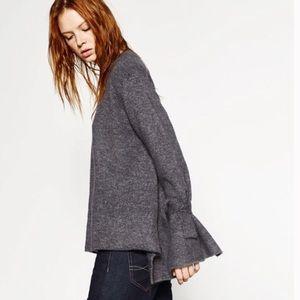 ZARA Knit Grey Tie Sleeve Sweater Small